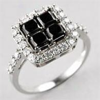14k 1.98 Cttw. Black & White Diamond Ring