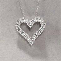 14k 2.00 Cttw. Diamond Open Heart Large Pendant