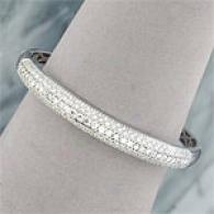 14k 2.03 Cttw. Diamond Pave Domed Bangle Bracelet