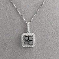 14k 2.08cttw. Black & White Diamond Suare Pendant