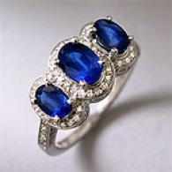 14k 2.15 Cttw. Sapphire & Diamond Cocktail Ring