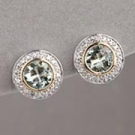14k 2.18 Cttw. Green Amethyst & Diamond Earring