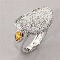 14k 2.20cttw. Pave Diamond & Yellow Sapphire Ring