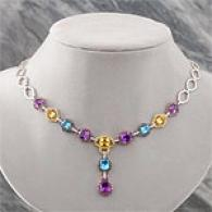 14k 22.26 Cttw. Multi Gemstone & Diamond Necklace