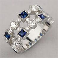 14k 2.30 Cttw. Sapphire & Diamond Stack Like Ring