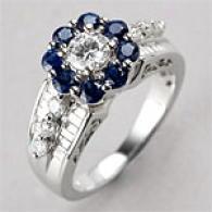 14k 2.31 Cttw. Diamond & Sapphire Ring