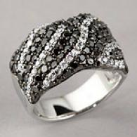 14k 2.38 Ctte. Black & White Diamond Ring
