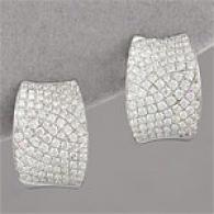 14k 2.72cttw. Pave Diamond Hug Hoop Earrings