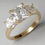 14k 3-stone 3.0 Cttw. Simulated Diamond Ring