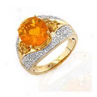 14k 3.00 Cttw. Fire Opal, Sapphire & Diamond Ring