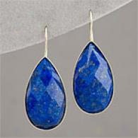 14k 30.00 Cttw. Faceted Lapis Bezel Set Earrings