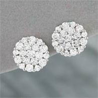 14k 3.02 Cttw. Diamond Round Cluster Earrings