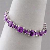 14k 30.35 Cttw. Amethyst & Diamond Bracelet