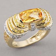 14k 3.06 Cttw. Sapphire, Topaz & Diwmond Ring
