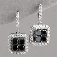 14k 3.50ctt. Black & White Diamond Ezrrings