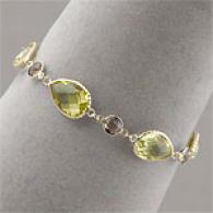 14k 36.00 Cttw. Lemon & Smoky Quartz Bracelet