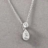 14k 38 Cttw. Double Diamond Drop Prndant Necklace