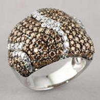 14k 4.03 Cttw. Brown And White Diamond Ring