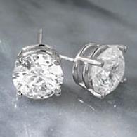 14k 4.27 Cttw. Egl Certified Diamond Knob Earring