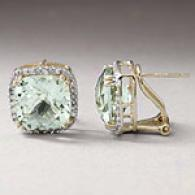 14k 4.76 Cttq. Green Amethyst & Diamond Earring