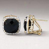 14k 5.25 Cttw. Black Onyx & Diamond Earrings