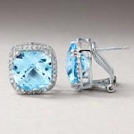 14k 5.55 Cttw. Blue Topaz & Diamond Earrings