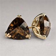14k 6.12 Cttw. Smoky Quuartz Stud Earrings