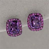 14k 7.15 Cttw. Amethyst & Pink Sapphire Earrings