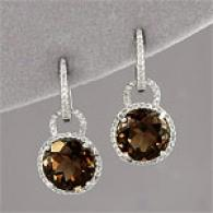 14k 7.50 Cttw. Smoky Quartz & Diamond Earring
