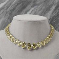 14k 79.91 Cttw. Lime Quartz & Diamond Necklace
