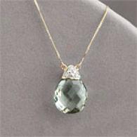 14k 8.94 Cttw. Green Amethyst & Diamond Pendant