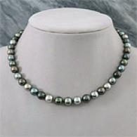 14k 8mm-10.5mm Mourning Mult Tahitian Pearl Necklace
