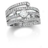 14k .98 Cttw. Diamond Multi Row Ring