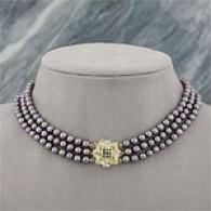 14k Black Akoya Pearl, Sapphire & Diamond Necklace