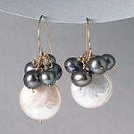 14k Black Drop & Mother-of-pearl Coin Earrings