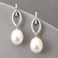 14k Cultured Pearl & 0.40 Cttw. Diamond Earrings