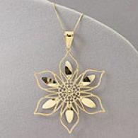 14k Diamond-cut Flower Pendant With 18