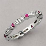 14k Diamond & Ruby Guard Ring