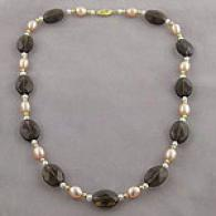 14k Frrshwater Pearl & Smoky Quartz Necklace