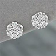 14k Gold 1.00 Cttw. Diamond Cluster Earrings