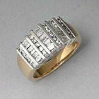 14k Gold 1.00 Ctwt. Round & Baguette Diamond Ring