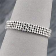 14k Gold 10.00 Cttw. 4-row Diamond Link Bracelet