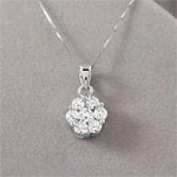 14k Gold 1.03 Cttw. Diamond Cluster Pendant
