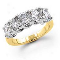 14k Gold 1.5 Cttw. 5-stone Diamond Weddinb Band