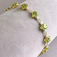 14k Gold 15 Cttw. Peridot & Diamond Bracelet
