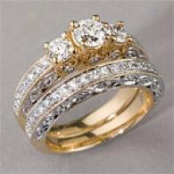 14k Gold 1.50 Cttw. Diamond Miligrain Ring Set