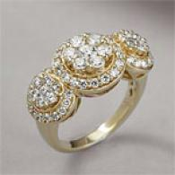 14k Gold 2.00 Cttw. Diamond Triple Cluster Ring