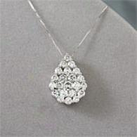 14k Gold 2.02 Cttw. Diamond Pear Cluster Pendant