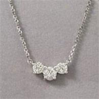 14k Gold 3-stone 0.96 Cttw. Diamond Necklace