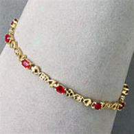 14k Gold 3.50 Cttw Ruby & Diamond Accent Bracelet